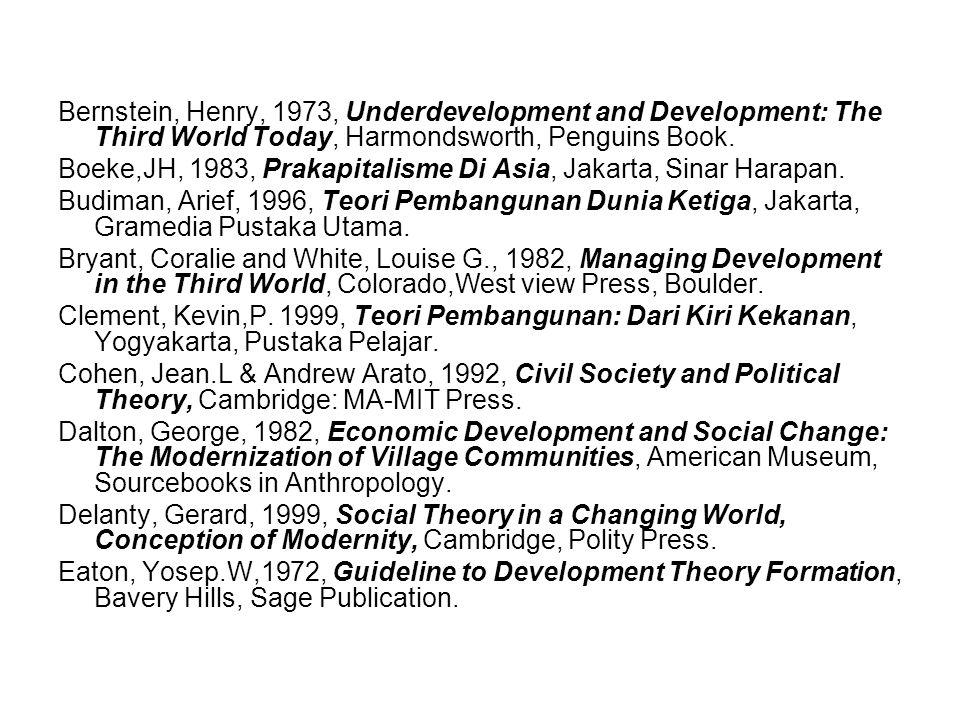 Bernstein, Henry, 1973, Underdevelopment and Development: The Third World Today, Harmondsworth, Penguins Book.