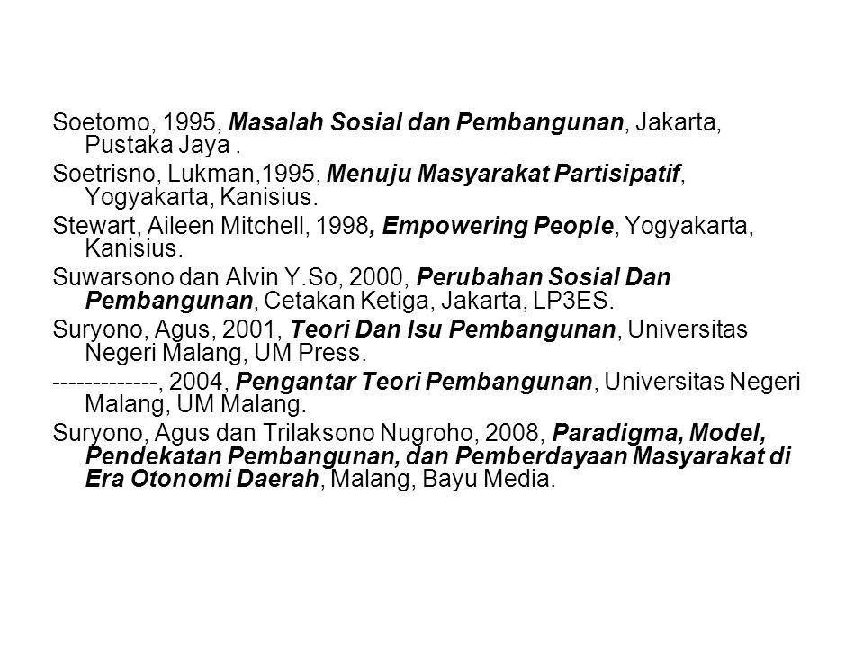 Soetomo, 1995, Masalah Sosial dan Pembangunan, Jakarta, Pustaka Jaya .