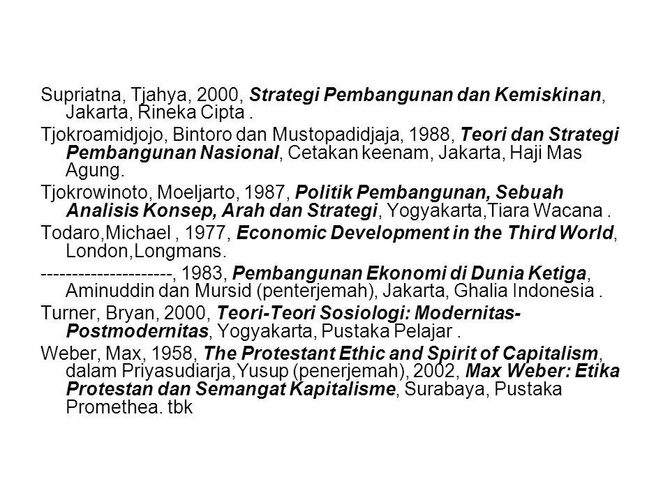 Supriatna, Tjahya, 2000, Strategi Pembangunan dan Kemiskinan, Jakarta, Rineka Cipta .