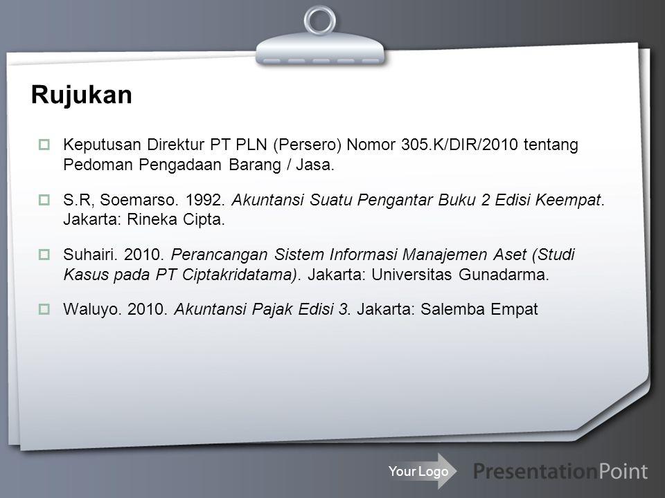 Rujukan Keputusan Direktur PT PLN (Persero) Nomor 305.K/DIR/2010 tentang Pedoman Pengadaan Barang / Jasa.