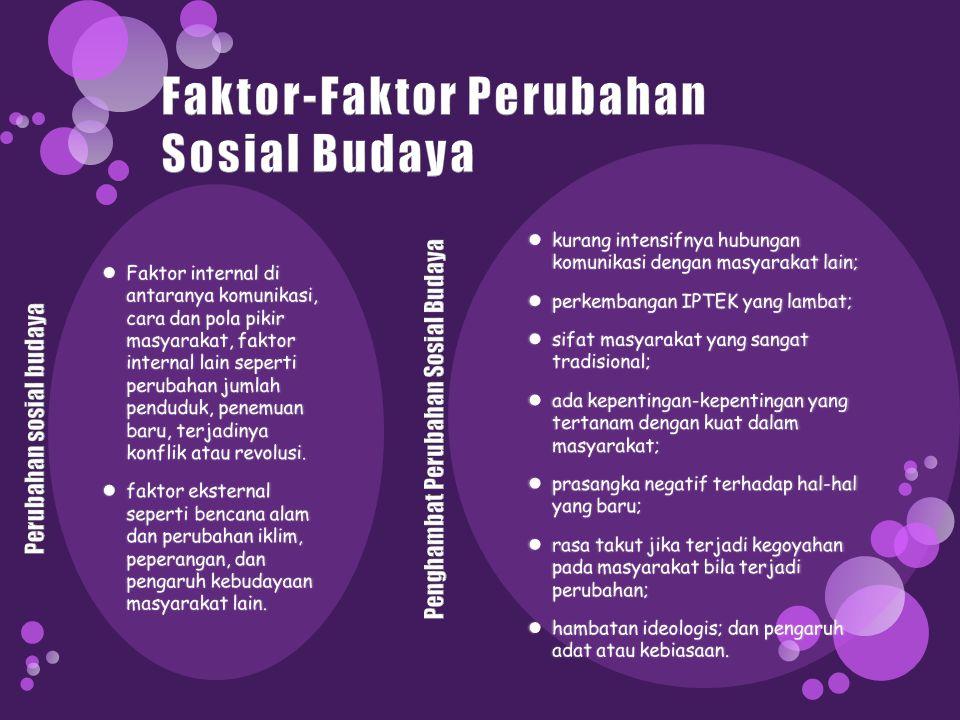 Faktor-Faktor Perubahan Sosial Budaya