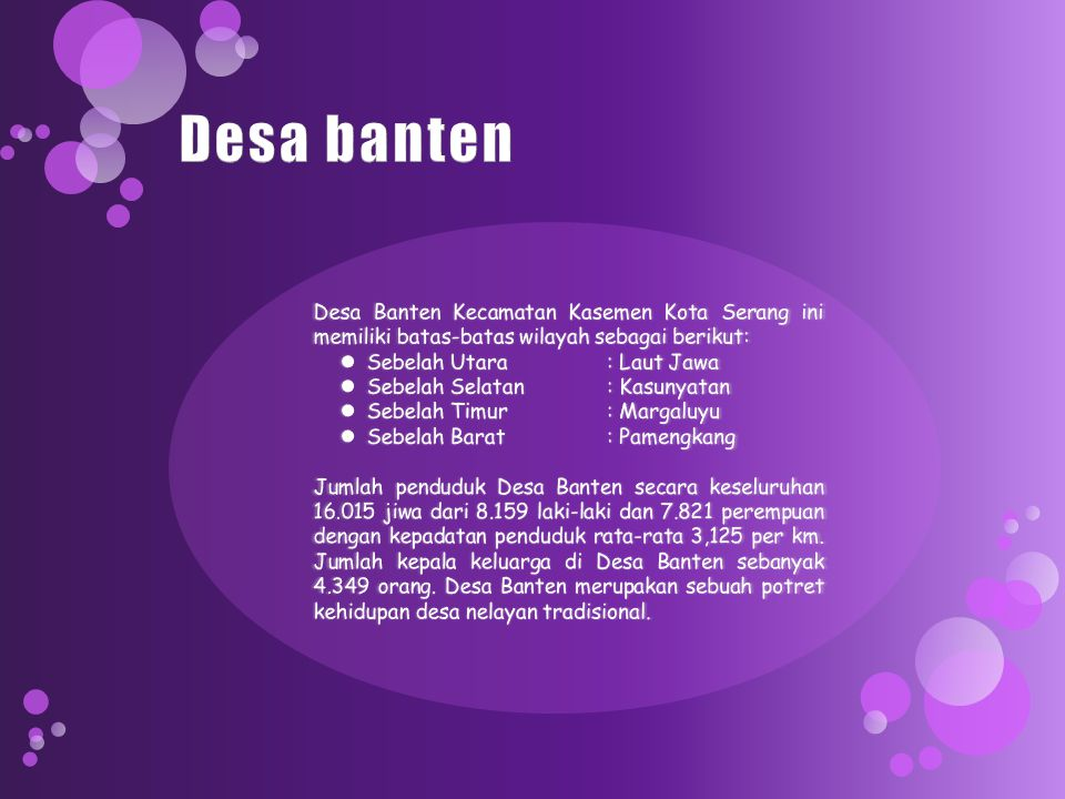 Desa banten Desa Banten Kecamatan Kasemen Kota Serang ini memiliki batas-batas wilayah sebagai berikut: