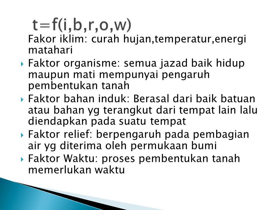 t=f(i,b,r,o,w) Fakor iklim: curah hujan,temperatur,energi matahari