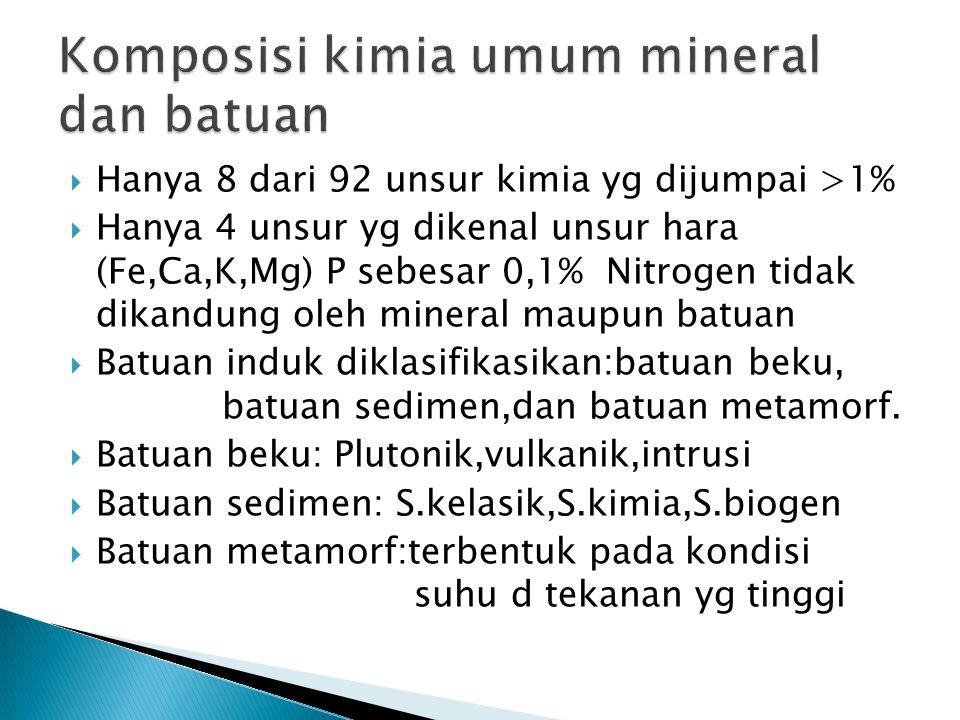 Komposisi kimia umum mineral dan batuan