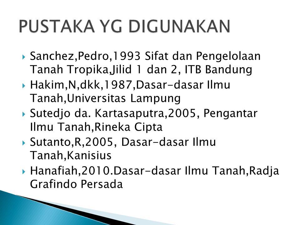 PUSTAKA YG DIGUNAKAN Sanchez,Pedro,1993 Sifat dan Pengelolaan Tanah Tropika,Jilid 1 dan 2, ITB Bandung.
