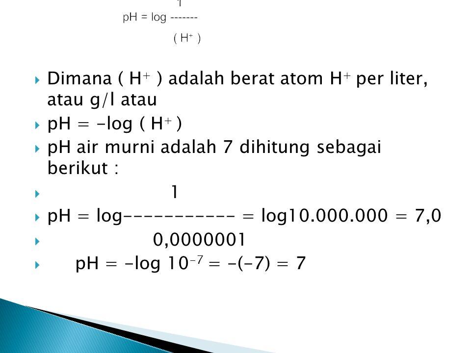 Dimana ( H+ ) adalah berat atom H+ per liter, atau g/l atau
