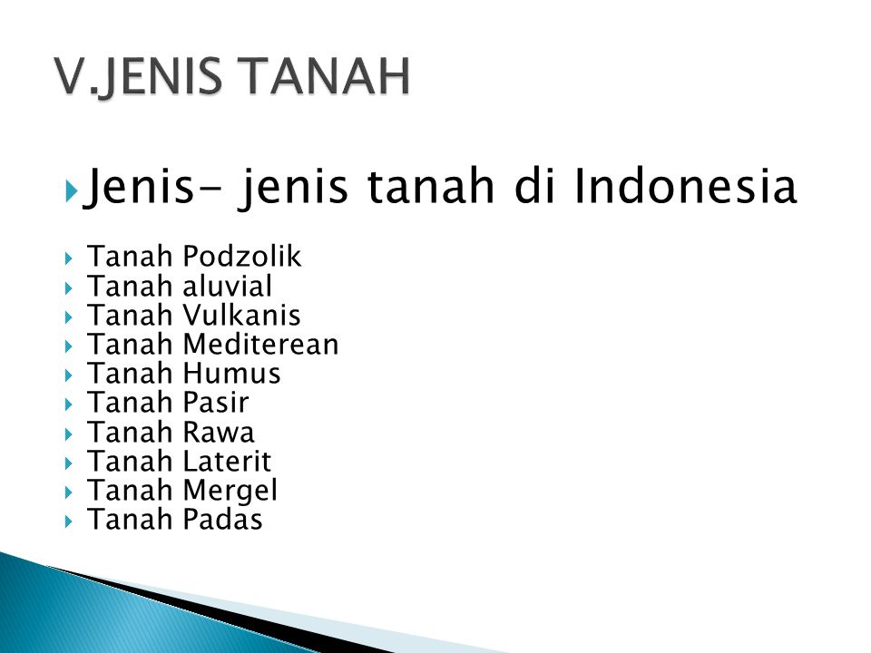 V.JENIS TANAH Jenis- jenis tanah di Indonesia Tanah Podzolik