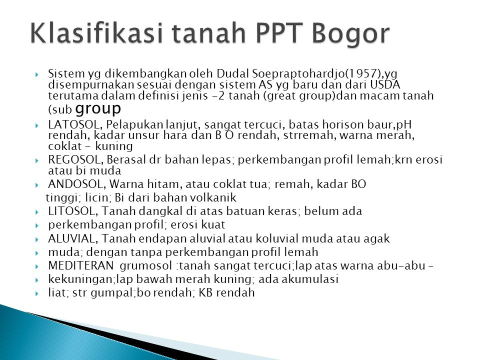 Klasifikasi tanah PPT Bogor