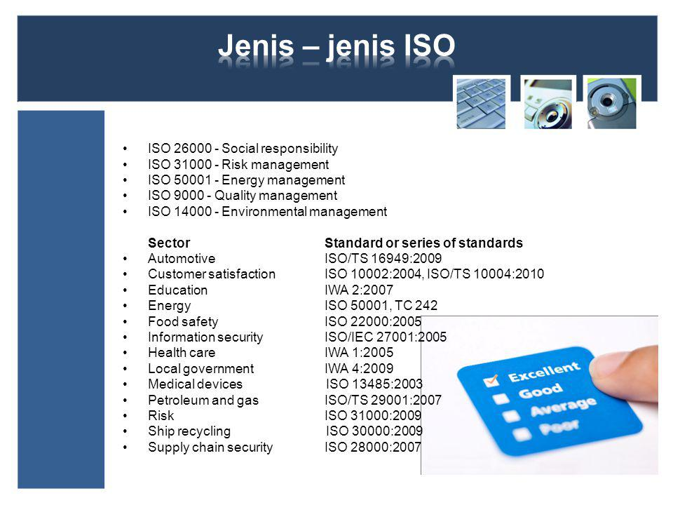 Jenis – jenis ISO ISO 26000 - Social responsibility