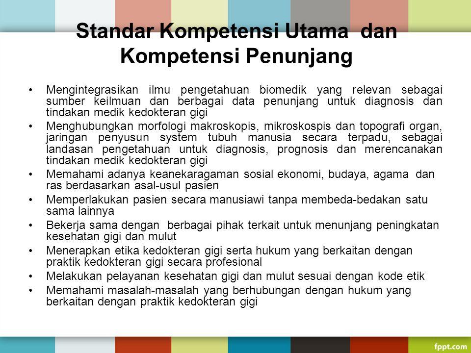 Standar Kompetensi Utama dan Kompetensi Penunjang