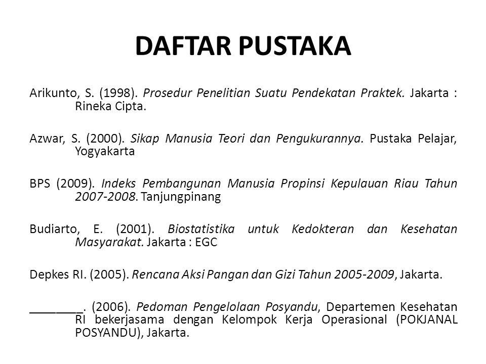DAFTAR PUSTAKA Arikunto, S. (1998). Prosedur Penelitian Suatu Pendekatan Praktek. Jakarta : Rineka Cipta.