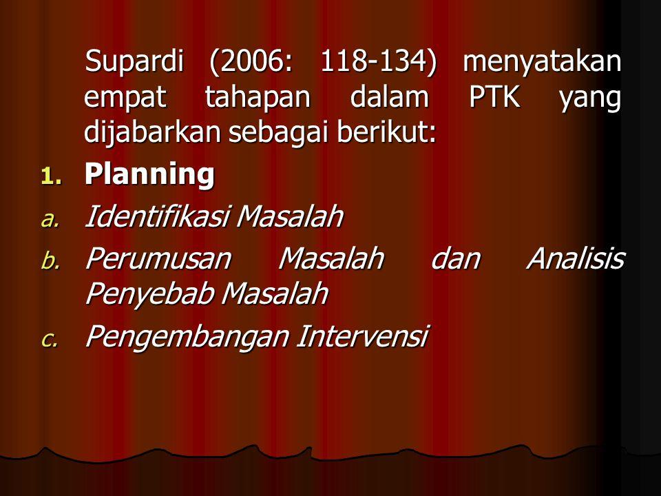 Supardi (2006: 118-134) menyatakan empat tahapan dalam PTK yang dijabarkan sebagai berikut: