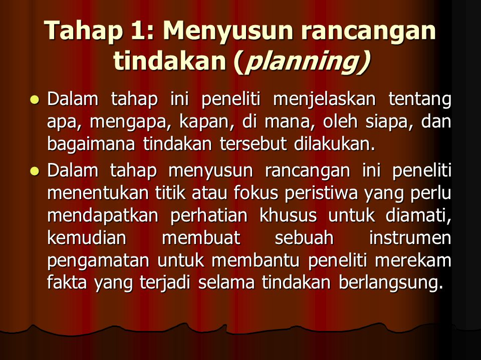Tahap 1: Menyusun rancangan tindakan (planning)