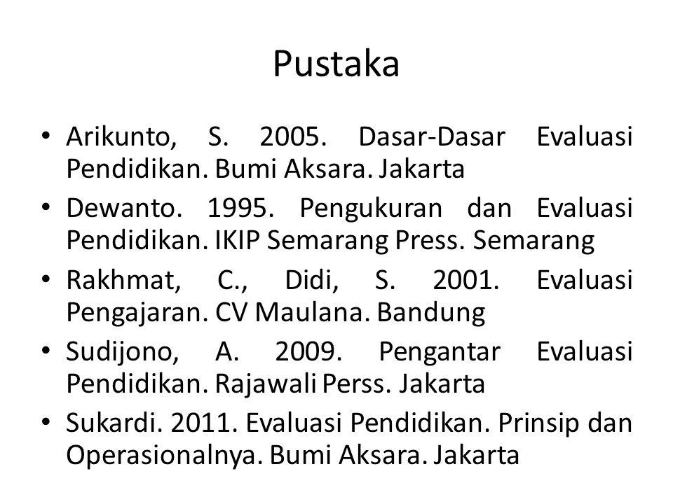 Pustaka Arikunto, S. 2005. Dasar-Dasar Evaluasi Pendidikan. Bumi Aksara. Jakarta.