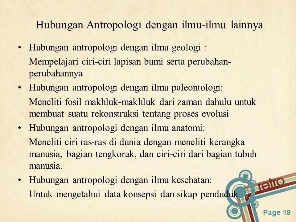 Hubungan Antropologi dengan ilmu-ilmu lainnya