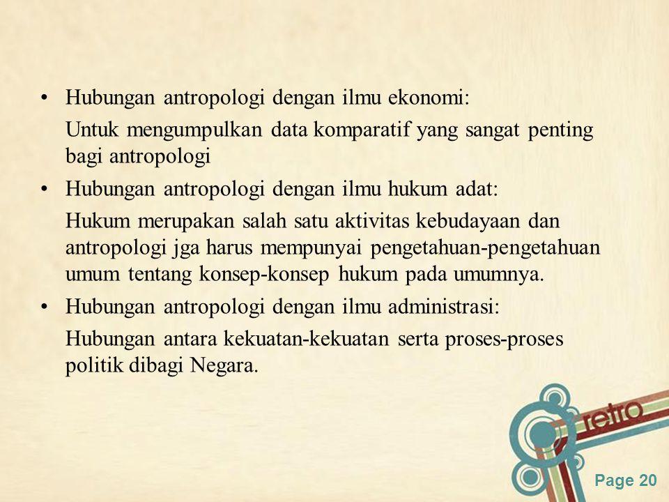 Hubungan antropologi dengan ilmu ekonomi: