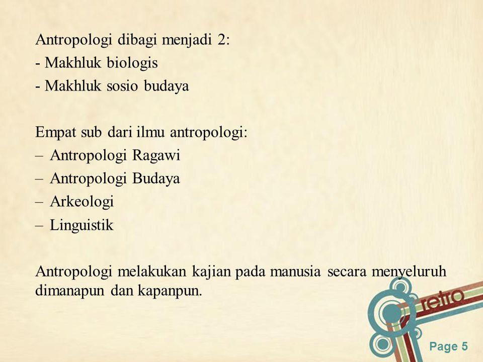 Antropologi dibagi menjadi 2: