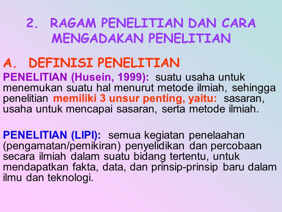 2. RAGAM PENELITIAN DAN CARA MENGADAKAN PENELITIAN
