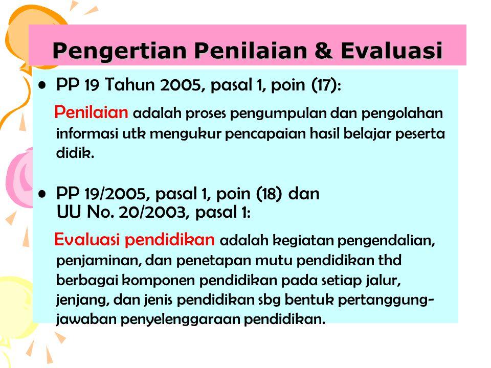 Pengertian Penilaian & Evaluasi