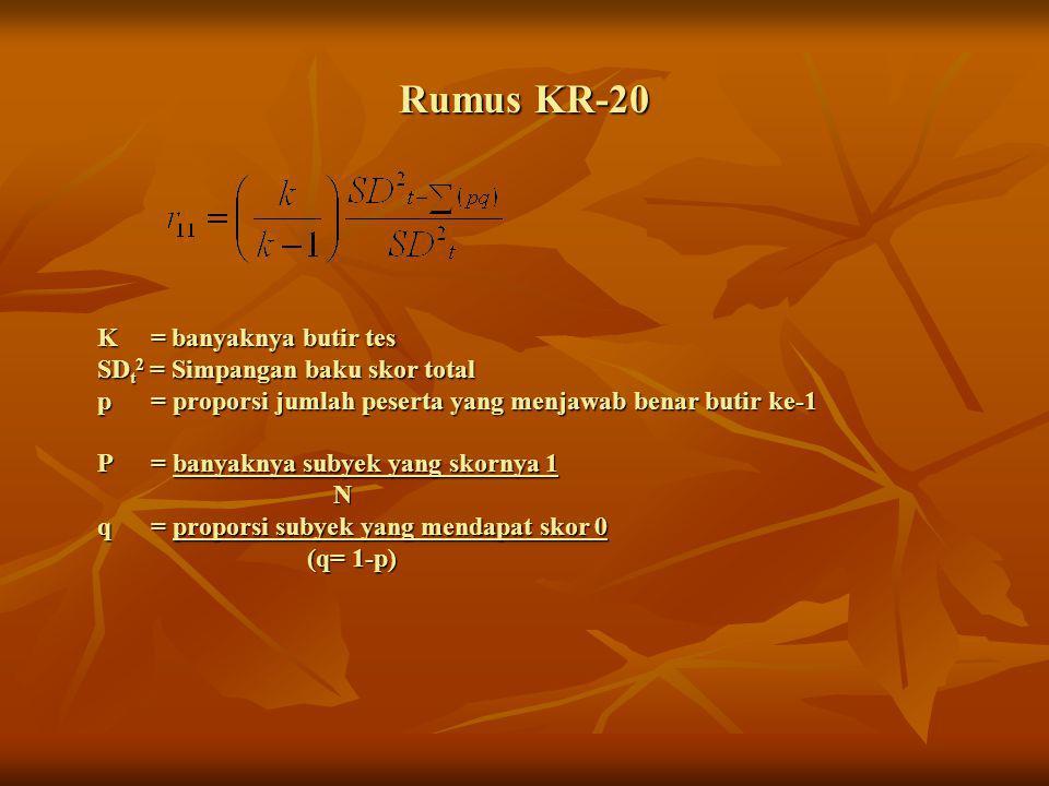 Rumus KR-20 K = banyaknya butir tes SDt2 = Simpangan baku skor total p = proporsi jumlah peserta yang menjawab benar butir ke-1.