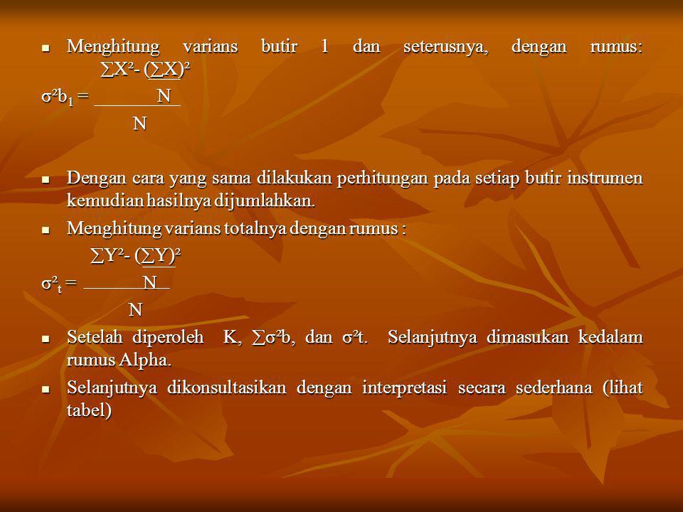 Menghitung varians butir 1 dan seterusnya, dengan rumus: X²- (X)²