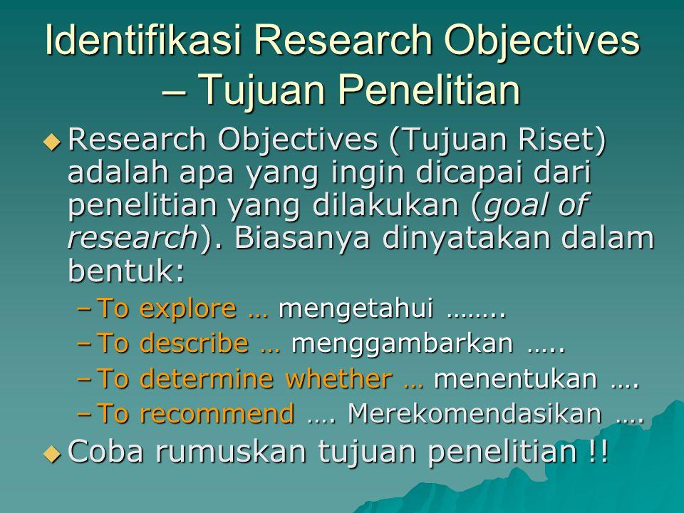 Identifikasi Research Objectives – Tujuan Penelitian