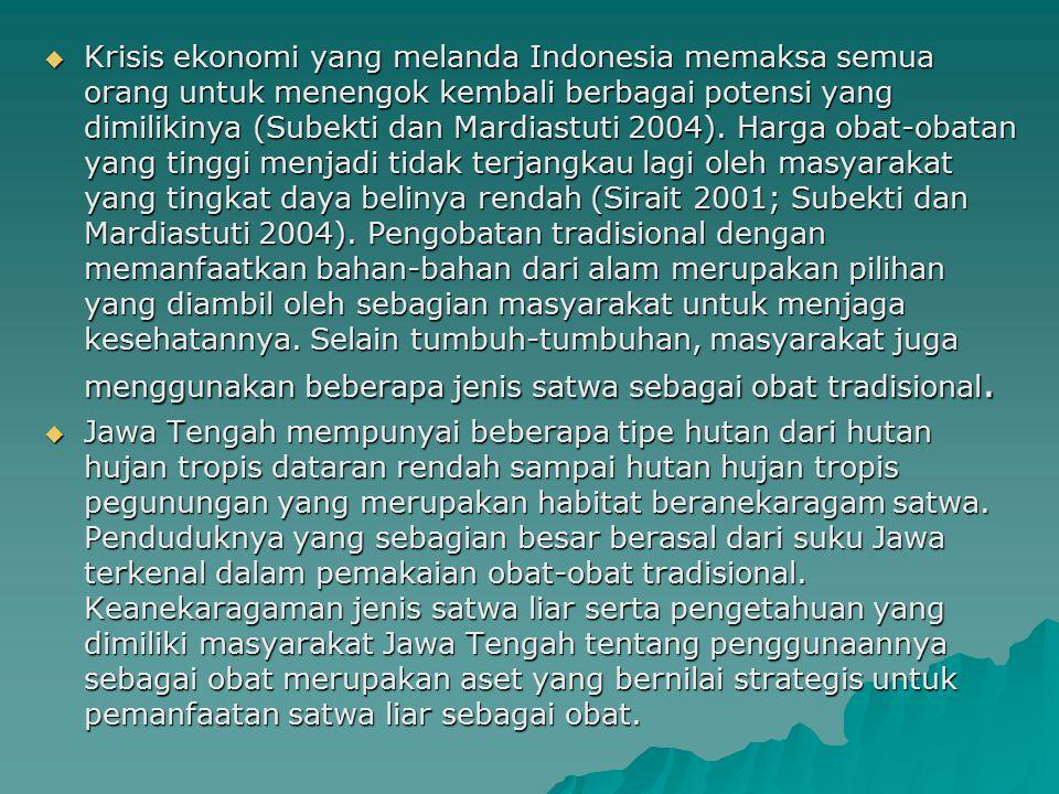 Krisis ekonomi yang melanda Indonesia memaksa semua orang untuk menengok kembali berbagai potensi yang dimilikinya (Subekti dan Mardiastuti 2004). Harga obat-obatan yang tinggi menjadi tidak terjangkau lagi oleh masyarakat yang tingkat daya belinya rendah (Sirait 2001; Subekti dan Mardiastuti 2004). Pengobatan tradisional dengan memanfaatkan bahan-bahan dari alam merupakan pilihan yang diambil oleh sebagian masyarakat untuk menjaga kesehatannya. Selain tumbuh-tumbuhan, masyarakat juga menggunakan beberapa jenis satwa sebagai obat tradisional.