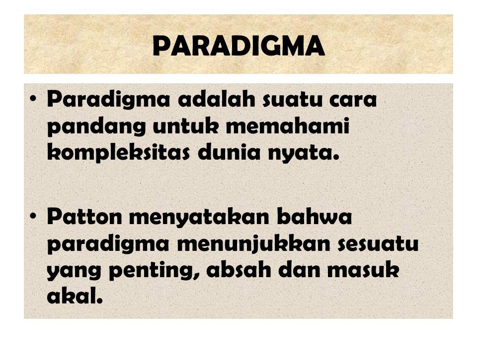 PARADIGMA Paradigma adalah suatu cara pandang untuk memahami kompleksitas dunia nyata.