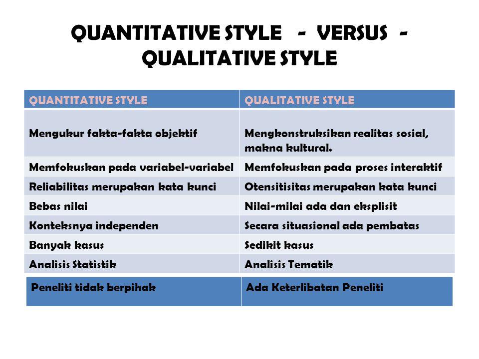 QUANTITATIVE STYLE - VERSUS -QUALITATIVE STYLE
