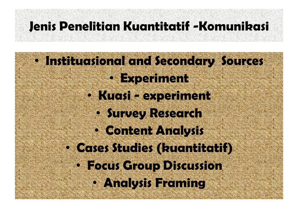 Jenis Penelitian Kuantitatif -Komunikasi