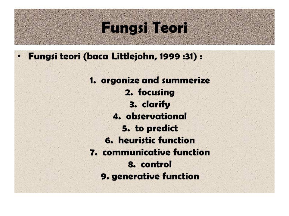 Fungsi Teori Fungsi teori (baca Littlejohn, 1999 :31) :