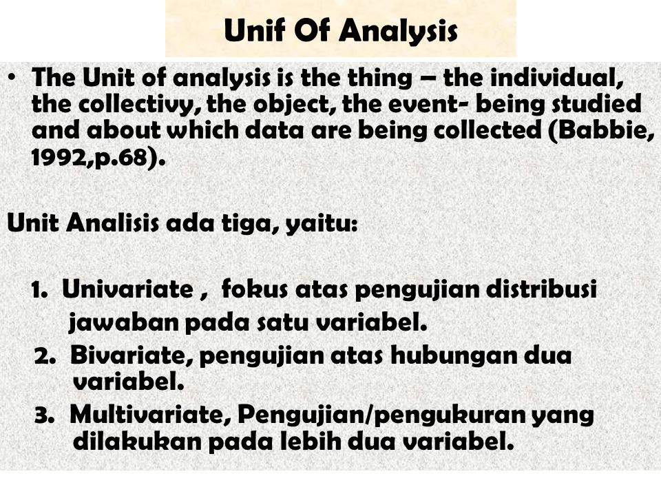 Unif Of Analysis