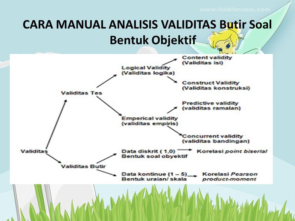 CARA MANUAL ANALISIS VALIDITAS Butir Soal Bentuk Objektif