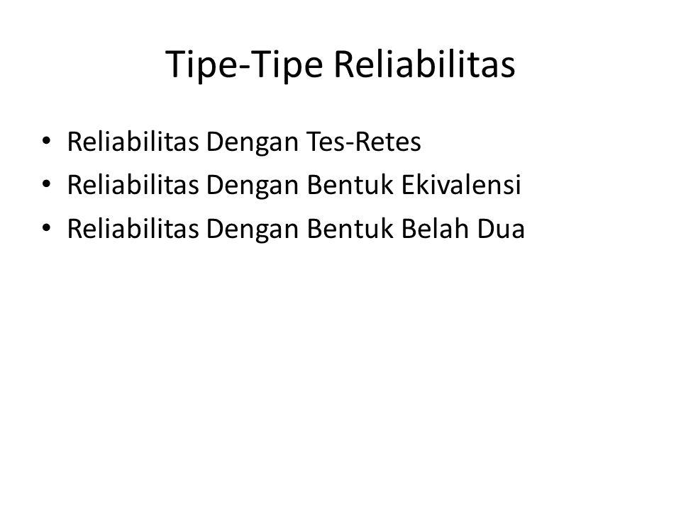 Tipe-Tipe Reliabilitas