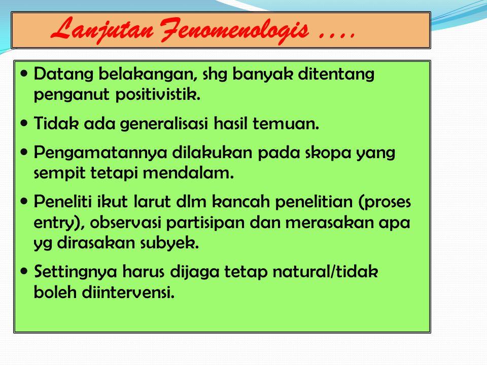 Lanjutan Fenomenologis ….