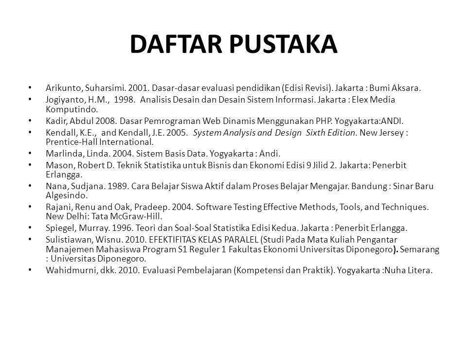 DAFTAR PUSTAKA Arikunto, Suharsimi. 2001. Dasar-dasar evaluasi pendidikan (Edisi Revisi). Jakarta : Bumi Aksara.