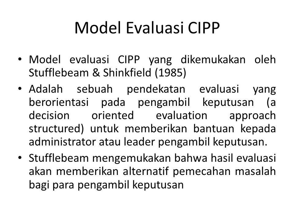 Model Evaluasi CIPP Model evaluasi CIPP yang dikemukakan oleh Stufflebeam & Shinkfield (1985)