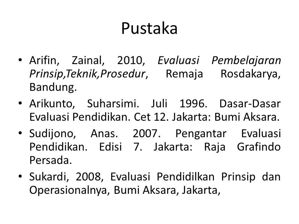 Pustaka Arifin, Zainal, 2010, Evaluasi Pembelajaran Prinsip,Teknik,Prosedur, Remaja Rosdakarya, Bandung.