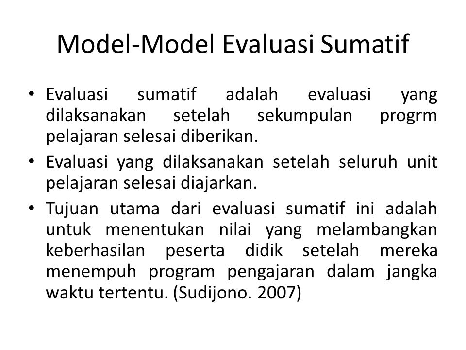Model-Model Evaluasi Sumatif