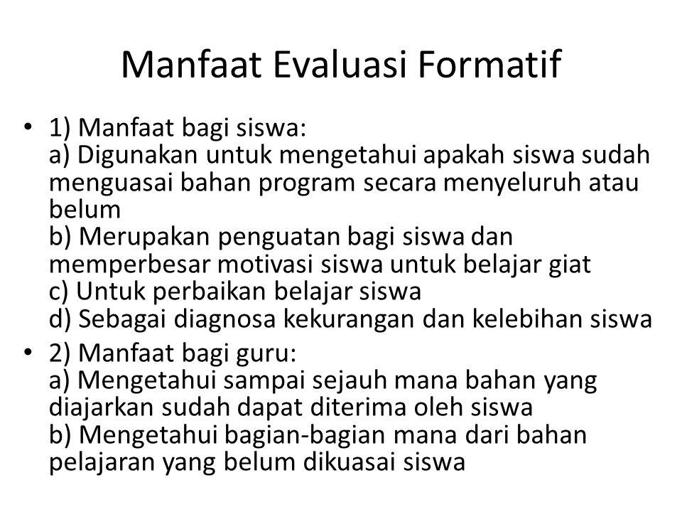 Manfaat Evaluasi Formatif