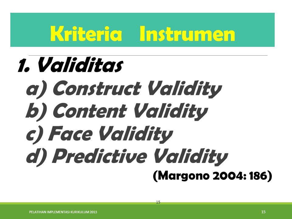 Kriteria Instrumen 1. Validitas a) Construct Validity