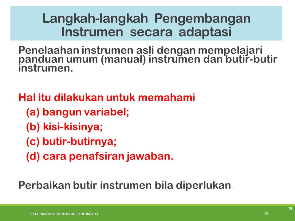Langkah-langkah Pengembangan Instrumen secara adaptasi