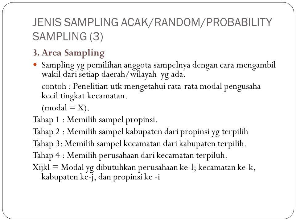 JENIS SAMPLING ACAK/RANDOM/PROBABILITY SAMPLING (3)