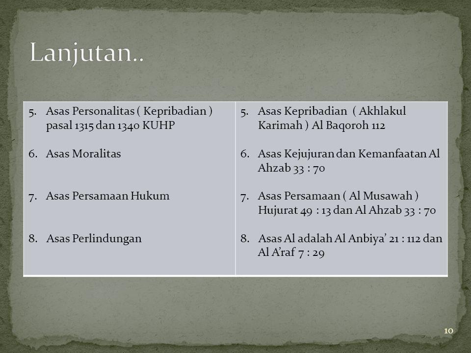 Lanjutan.. Asas Personalitas ( Kepribadian ) pasal 1315 dan 1340 KUHP