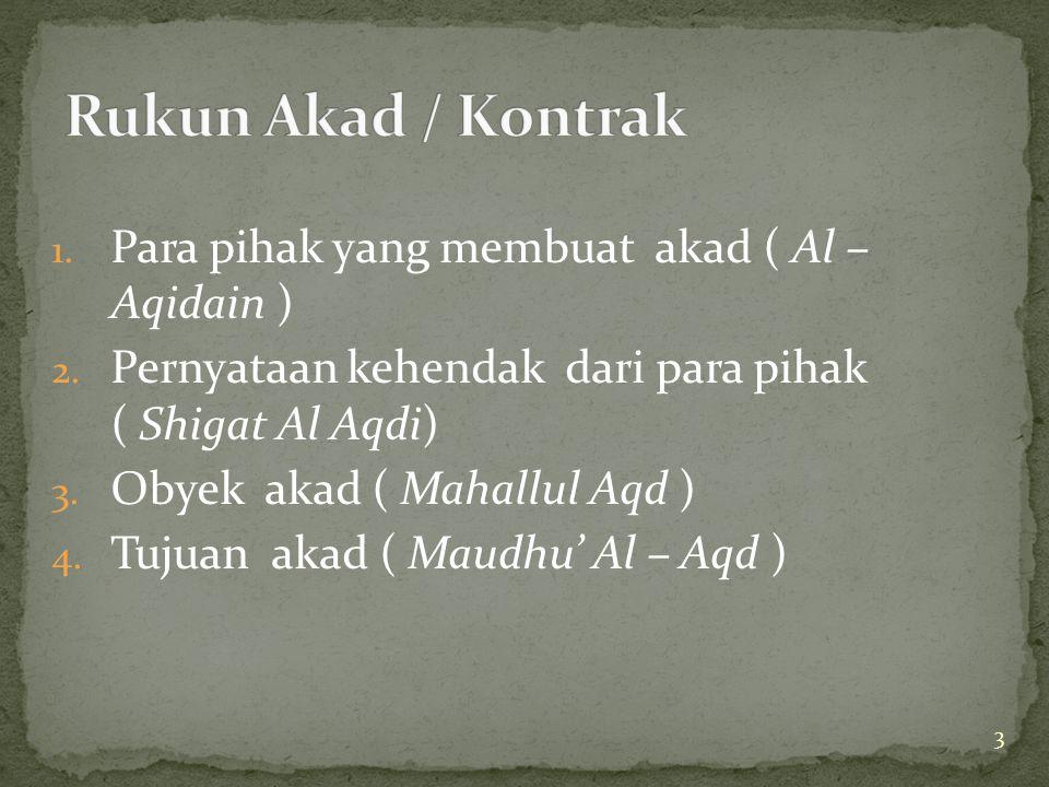 Rukun Akad / Kontrak Para pihak yang membuat akad ( Al – Aqidain )