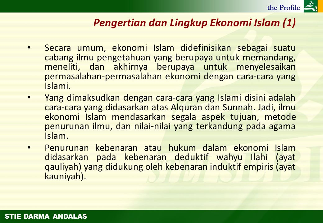 Pengertian dan Lingkup Ekonomi Islam (1)