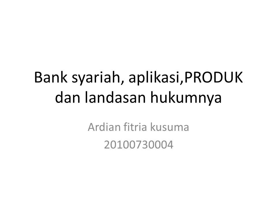 Bank syariah, aplikasi,PRODUK dan landasan hukumnya