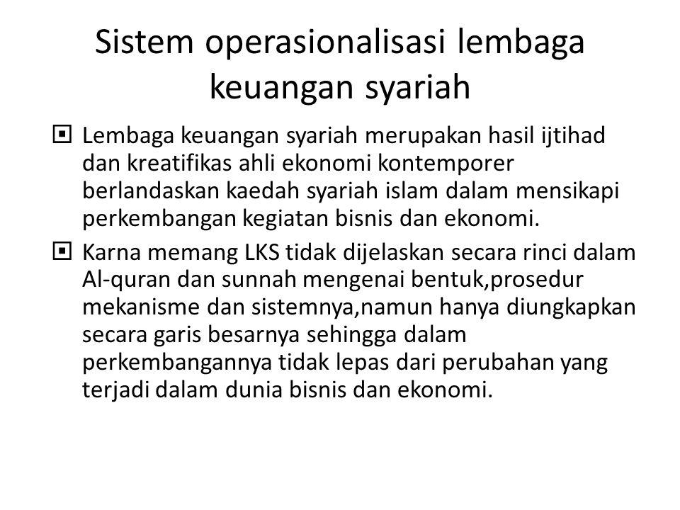 Sistem operasionalisasi lembaga keuangan syariah