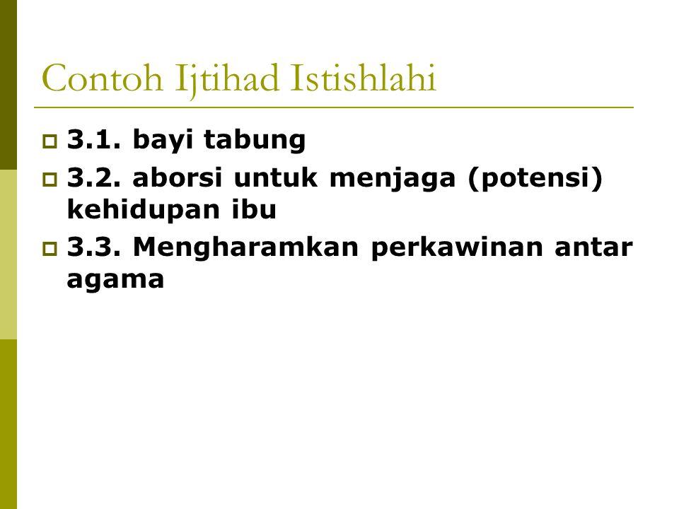 Contoh Ijtihad Istishlahi