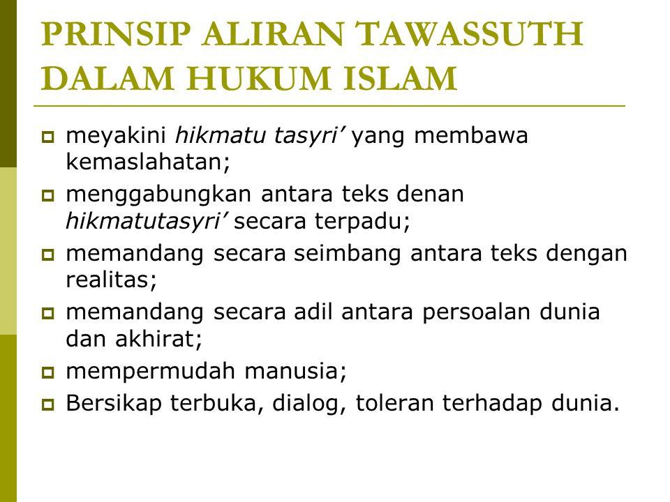 PRINSIP ALIRAN TAWASSUTH DALAM HUKUM ISLAM